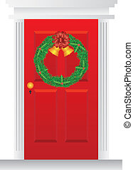 Christmas Wreath Hanging on Red Door Illustration -...