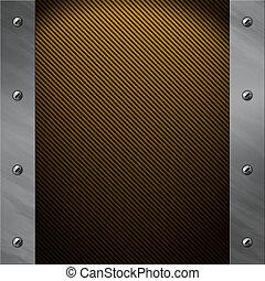 Brushed aluminum frame bolted to a golden carbon fiber background