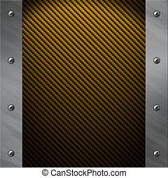 Brushed aluminum frame bolted to a golden carbon fiber...