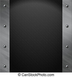 Brushed aluminum frame bolted to a carbon fiber background