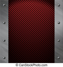 Brushed aluminum frame bolted to a red carbon fiber background