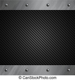 Brushed aluminum frame bolted to a carbon fiber background -...