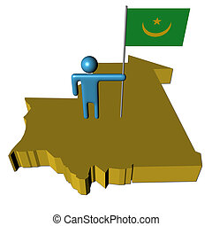 Abstract person with flag on Mauritania map illustration