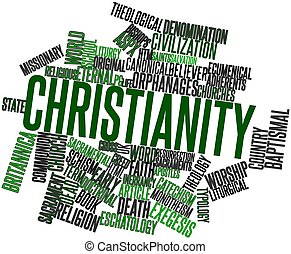 Christianity - Abstract word cloud for Christianity with...