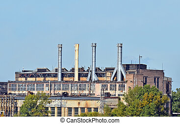 Old coal fired power plant in industrial zone of Kiev,...