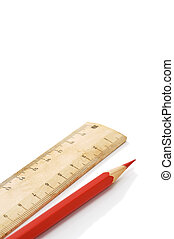 ruler and red pencil - Close-up of wooden ruler and red...