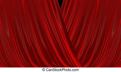 Opening and closing red curtain. 3d animation