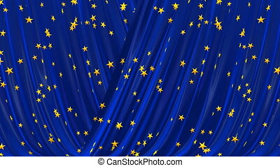 Blue theatrical curtain. - Opening and closing blue curtain....