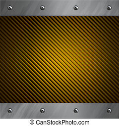 Brushed aluminum frame bolted to a golden carbon fiber background
