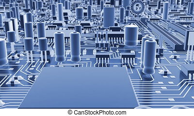 Abstract circuit board High technology loops 3d animation