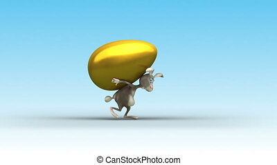 Easter Rabbit drag a golden egg. - 3 variations Rabbit's...