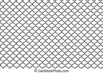 Chainlink fence with snow on netrual background