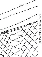 Barbed wire and chainlink fence on white