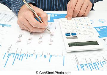 Business analysis - calculator, sheet, graph, business...