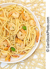 Shrimp Scampi Pasta - A healthy dish of shrimp scampi pasta