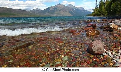 Lake McDonald Glacier National Park - Waves crash through...