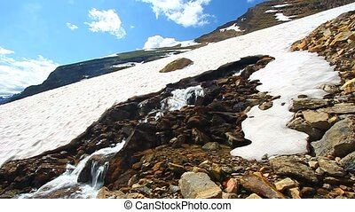 Melting Snow Montana Mountains - Melting snow on a late...