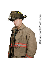 Firefighter - Young attractive male American man firefighter...