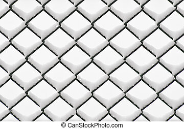 Chainlink fence with snow - Green chainlink fence with snow...