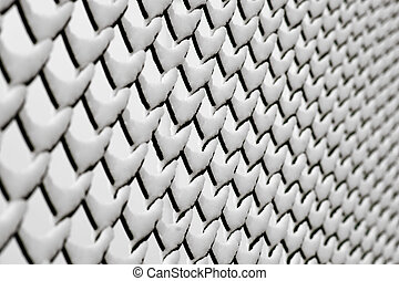 Chainlink fence with snow at an angle, with diminishing...