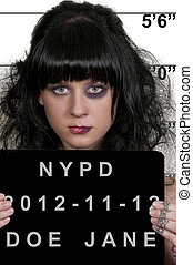 Woman Mugshot - Mugshot of a beautiful young woman criminal