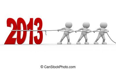 2013 - 3d people - men, person pull rope New Year metaphor...
