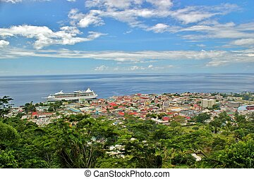 Cruise ship docked in Dominica 2 - Landscape views with a...