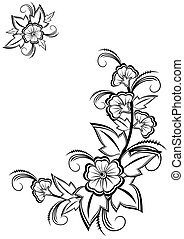 Abstract floral corner - Illustration of abstract black and...