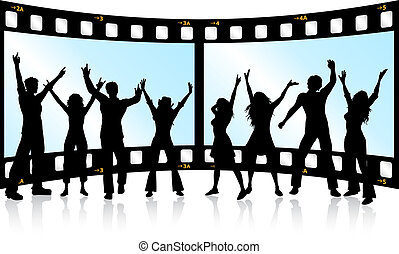 film strip youth - Silhouettes of people dancing on film...