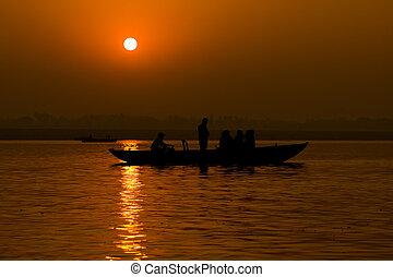 Sunrise on the Ganga river, Varanasi, India.