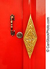 Door handle and Deadbolt lock on red door - Door handle and...