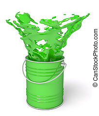 Green paint splashing out of can