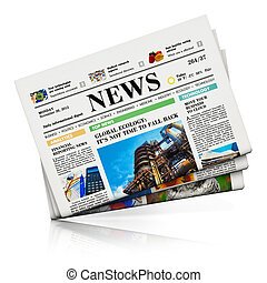 Newspapers - Heap of newspapers with business news isolated...