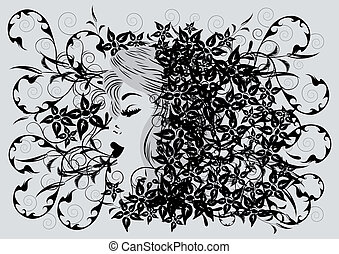 Womans profile - Illustration of womans profile on floral...