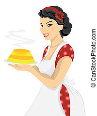 Beautiful woman with cake - Illustration of beautiful woman...