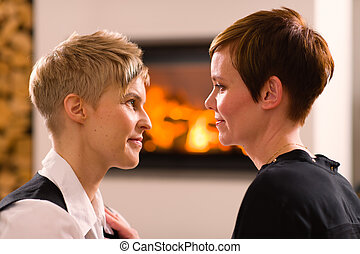 Togetherness - A portrait of a lesbian couple in love,...