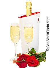 Valentine's day  champagne wine