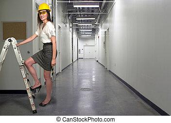 construção, trabalhador, femininas