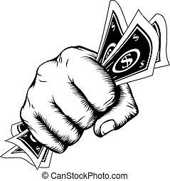 mano, puño, con, efectivo, Ilustración