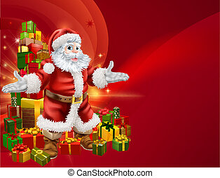 Santa and presents background - Red Santa and a stack of...