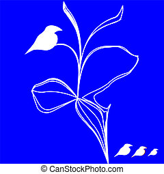 White birds figure isolated over blue