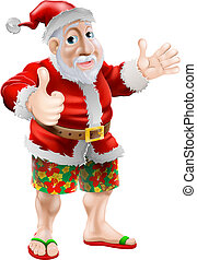 Beach summer Santa - Summer Santa in beach wear, long board...