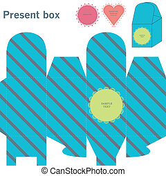 Present box with diagonal lines