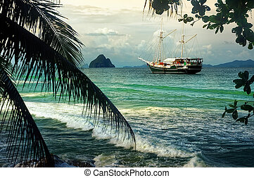 Yacht sailing in paradise bay - Beautiful seascape with...