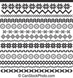 Ethnic pattern motifs - black and white