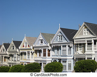 Painted Ladies - The famous Painted Ladies Victorian Row,...