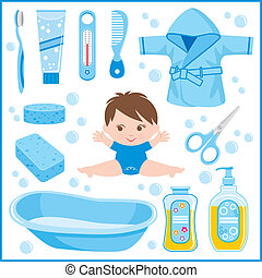 Set of childrens things for bathin - Vector illustration It...