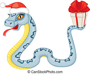 Cartoon serpent gives a gift - Cute cartoon serpent...
