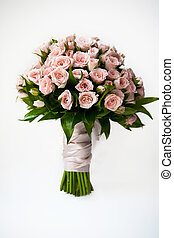pink roses - wedding bouquet of pink roses