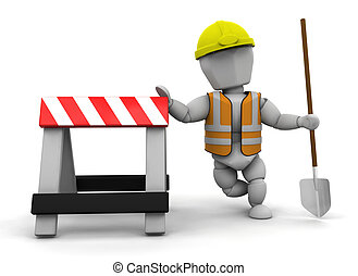 Construction worker - 3D render of a construction worker